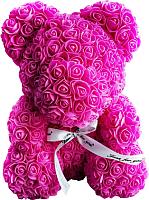 Мишка из роз No Brand Rose Bear / 8010 (40см, ярко-розовый) -
