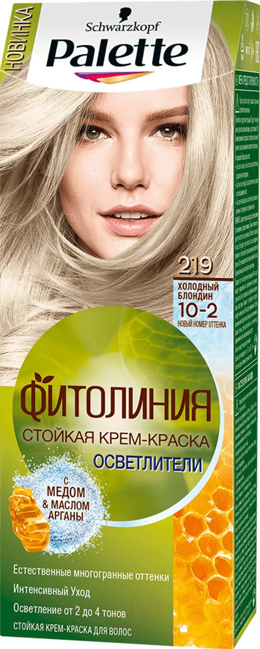 Купить Крем-краска для волос Palette, Фитолиния 219 / 10-2 (холодный блондин), Россия