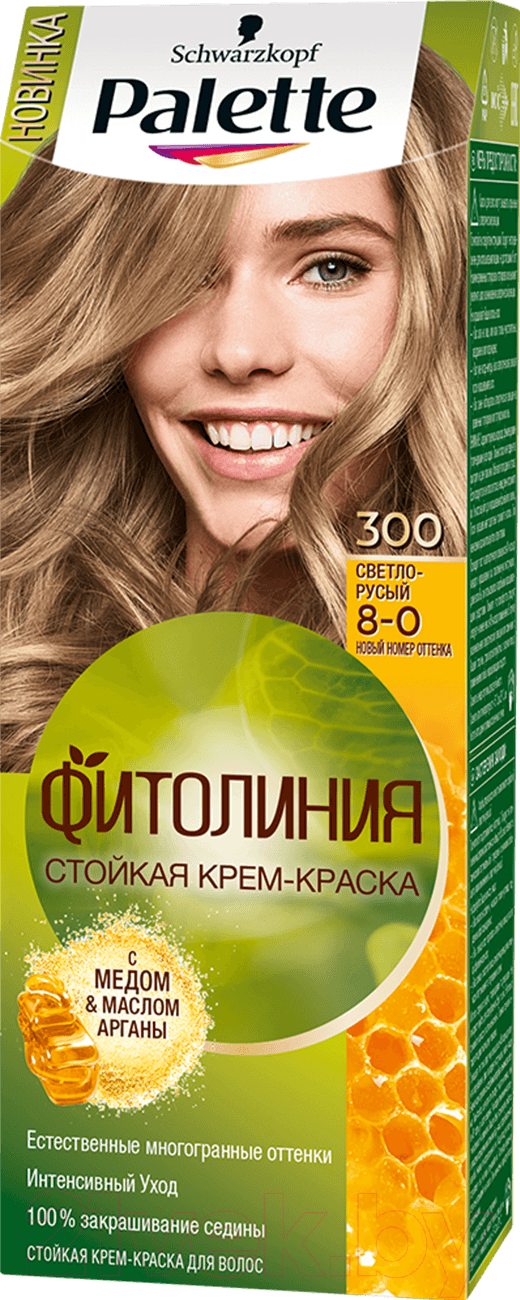 Купить Крем-краска для волос Palette, Фитолиния 300 / 8-0 (светло-русый), Россия
