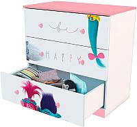 Комод Polini Kids Fun 3290 Тролли (розовый) -