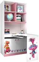 Письменный стол Polini Kids Fun 1230 Тролли со столом (розовый) -