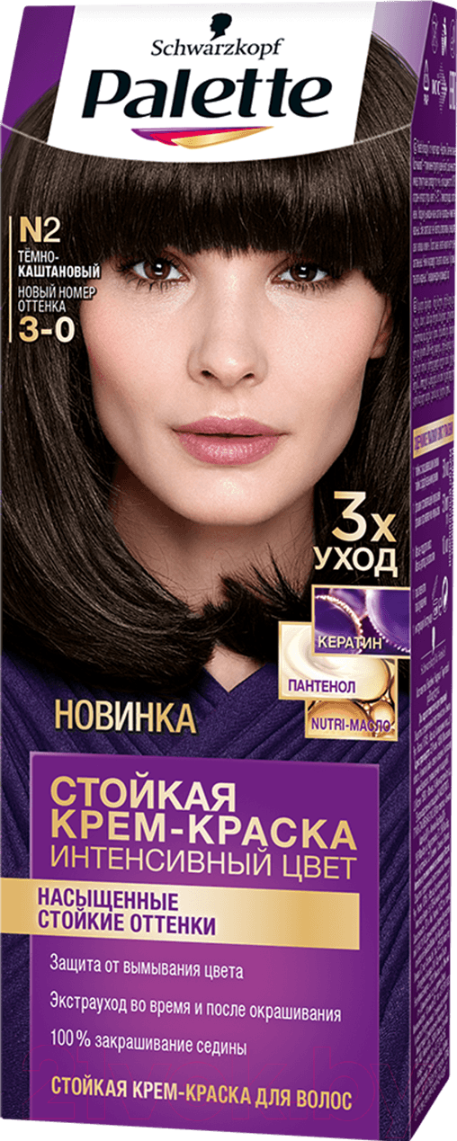 Купить Крем-краска для волос Palette, Стойкая N2 / 3-0 (темно-каштановый), Россия, шатен