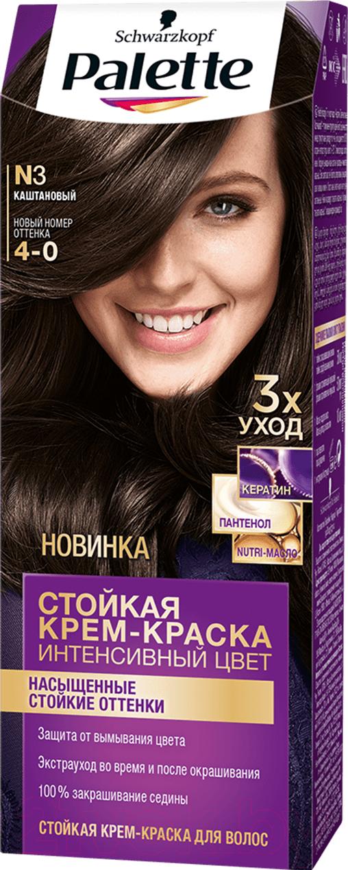 Купить Крем-краска для волос Palette, Стойкая N3 / 4-0 (каштановый), Россия, шатен