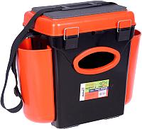 Ящик рыболовный Helios FishBox односекционный (10л, черный/оранжевый) -