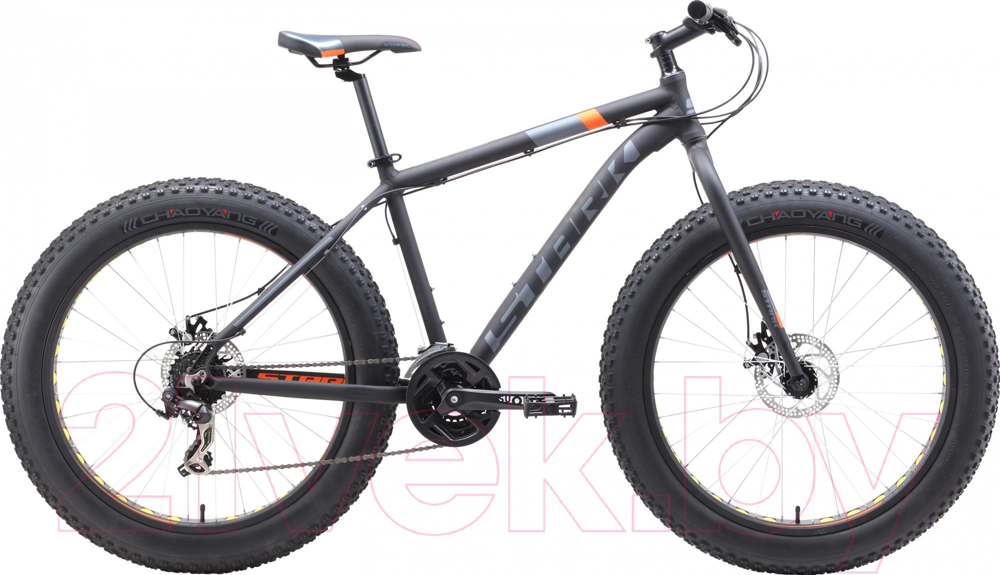 Купить Велосипед STARK, Fat 26.2 D 2019 (20, чёрный/оранжевый/серый), Россия