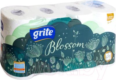 Туалетная бумага Grite Blossom (8рул, трехслойная белая) -