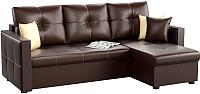 Диван угловой Mebelico Валенсия 147 правый / 59285 (экокожа, коричневый) -