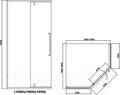Душевой уголок RGW SV-81-B / 32328100-14 (прозрачное стекло/черный)