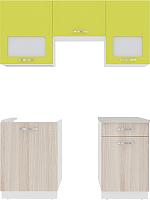 Готовая кухня ВерсоМебель Эко-6 1.7 (ясень шимо светлый/зеленый лайм) -