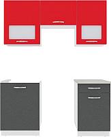 Готовая кухня ВерсоМебель Эко-6 1.7 (антрацит/красный чили) -