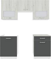 Готовая кухня ВерсоМебель Эко-6 1.8 (дуб крафт белый/антрацит) -