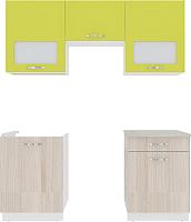 Готовая кухня ВерсоМебель Эко-6 1.8 (ясень шимо светлый/зеленый лайм) -