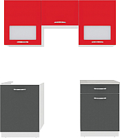 Готовая кухня ВерсоМебель Эко-6 1.8 (антрацит/красный чили) -