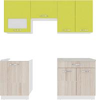 Готовая кухня ВерсоМебель Эко-6 2.0 (ясень шимо светлый/зеленый лайм) -