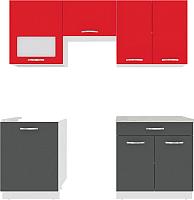 Готовая кухня ВерсоМебель Эко-6 2.0 (антрацит/красный чили) -