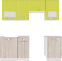 Готовая кухня ВерсоМебель Эко-6 2.1 (ясень шимо светлый/зеленый лайм) -