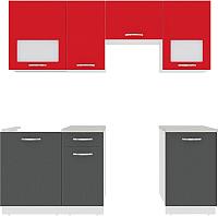 Готовая кухня ВерсоМебель Эко-6 2.1 (антрацит/красный чили) -