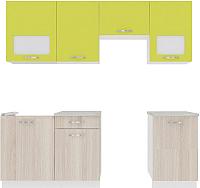 Готовая кухня ВерсоМебель Эко-6 2.2 (ясень шимо светлый/зеленый лайм) -