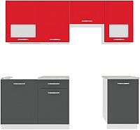 Готовая кухня ВерсоМебель Эко-6 2.2 (антрацит/красный чили) -