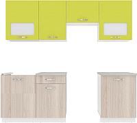 Готовая кухня ВерсоМебель Эко-6 2.3 (ясень шимо светлый/зеленый лайм) -
