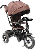 Детский велосипед с ручкой Mini Trike Джинс (коричневый) -