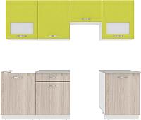 Готовая кухня ВерсоМебель Эко-6 2.4 (ясень шимо светлый/зеленый лайм) -