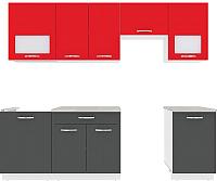 Готовая кухня ВерсоМебель Эко-6 2.5 (антрацит/красный чили) -