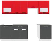Готовая кухня ВерсоМебель Эко-6 2.6 (антрацит/красный чили) -