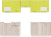 Готовая кухня ВерсоМебель Эко-6 2.8 (ясень шимо светлый/зеленый лайм) -