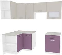 Готовая кухня ВерсоМебель Эко-6 1.2x2.2 левая (виола/кашемир) -