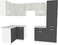 Готовая кухня ВерсоМебель Эко-6 1.2x2.7 левая (дуб крафт белый/антрацит) -