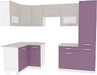 Готовая кухня ВерсоМебель Эко-6 1.2x2.7 левая (виола/кашемир) -