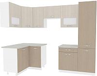 Готовая кухня ВерсоМебель Эко-6 1.2х2.7 левая (крослайн латте/крослайн карамель) -