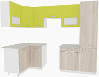 Готовая кухня ВерсоМебель Эко-6 1.2x2.7 левая (ясень шимо светлый/зеленый лайм) -