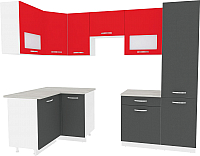 Готовая кухня ВерсоМебель Эко-6 1.2x2.7 левая (антрацит/красный чили) -