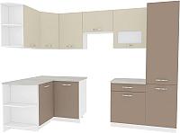 Готовая кухня ВерсоМебель Эко-6 1.3x2.8 левая (латте/бежевый) -