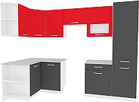 Готовая кухня ВерсоМебель Эко-6 1.3x2.8 левая (антрацит/красный чили) -