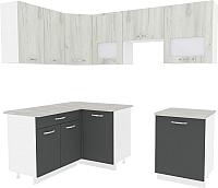 Готовая кухня ВерсоМебель Эко-6 1.4x2.3 (дуб крафт белый/антрацит) -