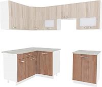 Готовая кухня ВерсоМебель Эко-6 1.4x2.3 левая (ясень шимо светлый/ясень шимо темный) -