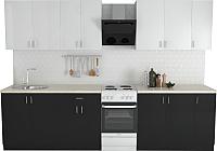 Готовая кухня Хоум Лайн Кристалл Лайт 2.5 (черный глянец/белый глянец) -