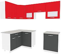 Готовая кухня ВерсоМебель Эко-6 1.4x2.3 левая (антрацит/красный чили) -