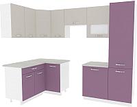 Готовая кухня ВерсоМебель Эко-6 1.4x2.7 левая (виола/кашемир) -