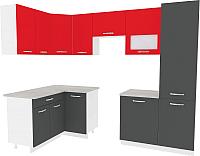 Готовая кухня ВерсоМебель Эко-6 1.4x2.7 левая (антрацит/красный чили) -