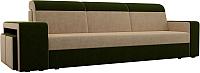 Комплект мягкой мебели Лига Диванов Мустанг с двумя пуфами / 61221 (вельвет бежевый/зеленый) -