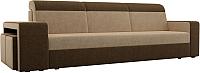 Комплект мягкой мебели Лига Диванов Мустанг с двумя пуфами / 61222 (вельвет бежевый/коричневый) -