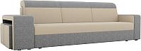 Комплект мягкой мебели Лига Диванов Мустанг с двумя пуфами / 61228 (рогожка бежевый/серый) -