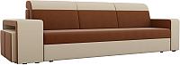 Комплект мягкой мебели Лига Диванов Мустанг с двумя пуфами / 61229 (рогожка коричневый/бежевый) -