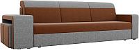 Комплект мягкой мебели Лига Диванов Мустанг с двумя пуфами / 61230 (рогожка коричневый/серый) -