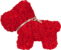 Собака из роз No Brand Rose Dog / 8019 (40см, красный) -