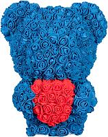 Мишка из роз No Brand Rose Bear стоящий с сердцем / 8027 (40см, синий) -